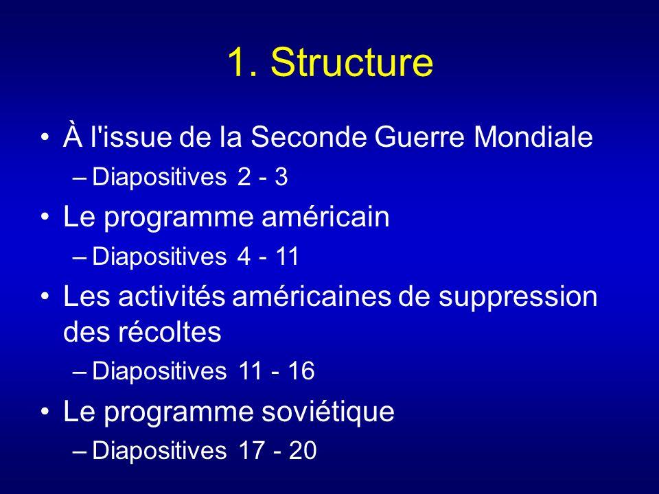1. Structure À l'issue de la Seconde Guerre Mondiale –Diapositives 2 - 3 Le programme américain –Diapositives 4 - 11 Les activités américaines de supp