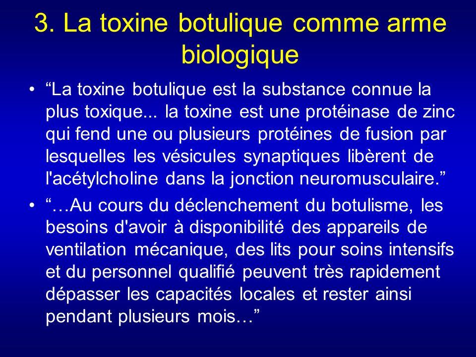 3. La toxine botulique comme arme biologique La toxine botulique est la substance connue la plus toxique... la toxine est une protéinase de zinc qui f