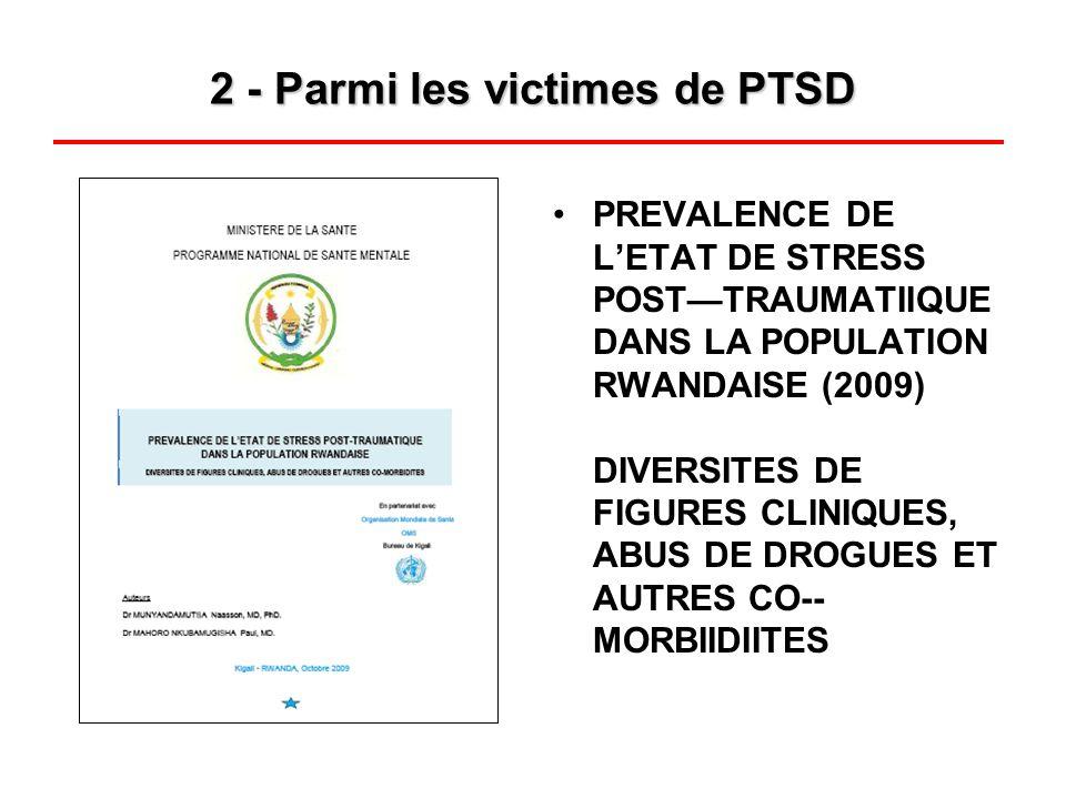 2 - Parmi les victimes de PTSD PREVALENCE DE LETAT DE STRESS POSTTRAUMATIIQUE DANS LA POPULATION RWANDAISE (2009) DIVERSITES DE FIGURES CLINIQUES, ABU