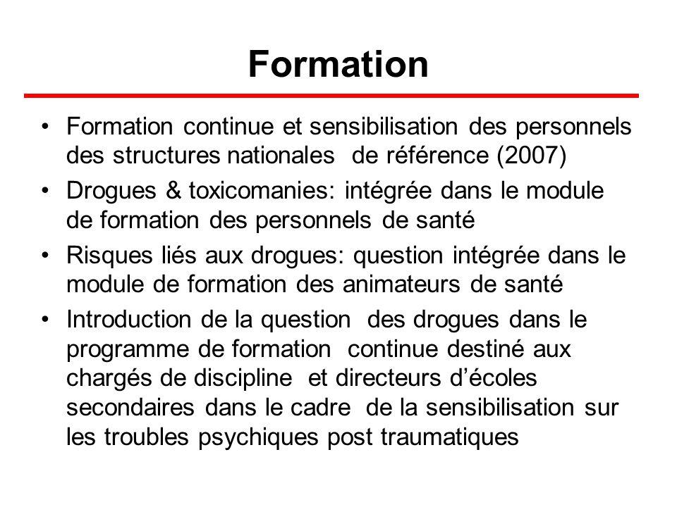 Formation Formation continue et sensibilisation des personnels des structures nationales de référence (2007) Drogues & toxicomanies: intégrée dans le