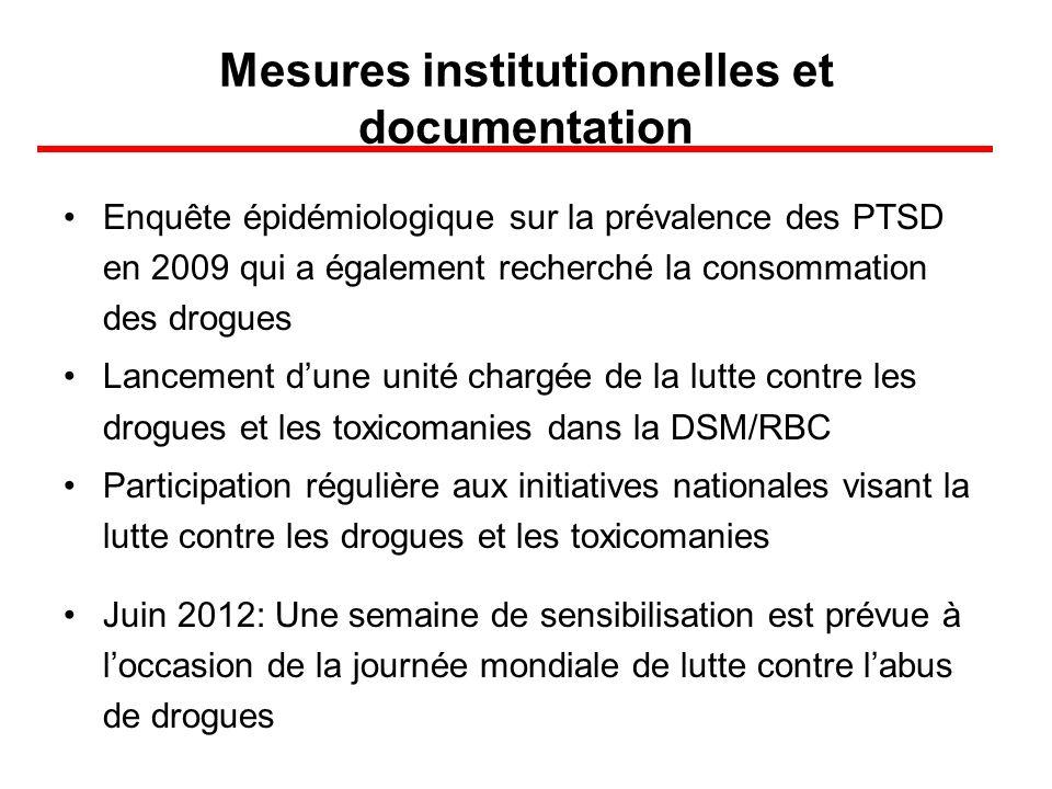 Mesures institutionnelles et documentation Enquête épidémiologique sur la prévalence des PTSD en 2009 qui a également recherché la consommation des dr