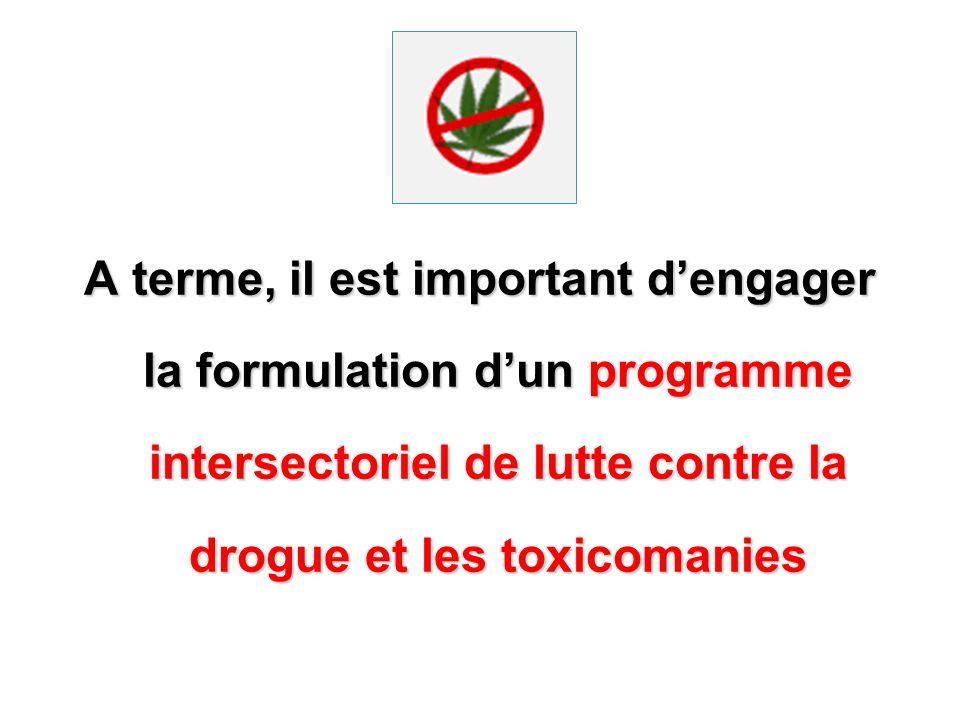 A terme, il est important dengager la formulation dun programme intersectoriel de lutte contre la drogue et les toxicomanies