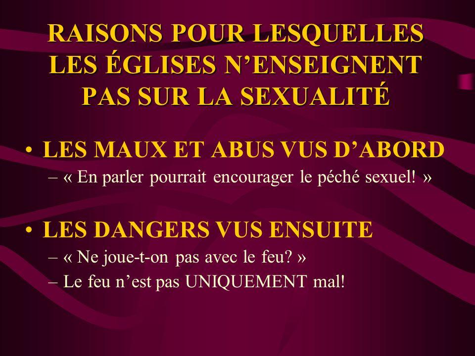 RAISONS POUR LESQUELLES LES ÉGLISES NENSEIGNENT PAS SUR LA SEXUALITÉ LES MAUX ET ABUS VUS DABORD –« En parler pourrait encourager le péché sexuel.