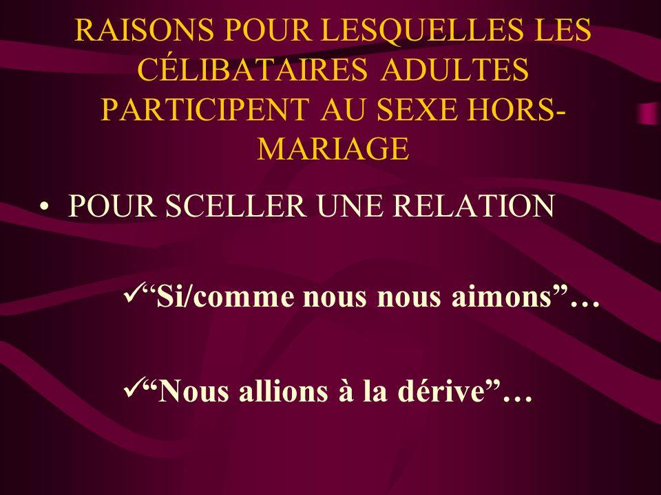RAISONS POUR LESQUELLES LES CÉLIBATAIRES ADULTES PARTICIPENT AU SEXE HORS- MARIAGE POUR SCELLER UNE RELATION Si/comme nous nous aimons… Nous allions à la dérive…