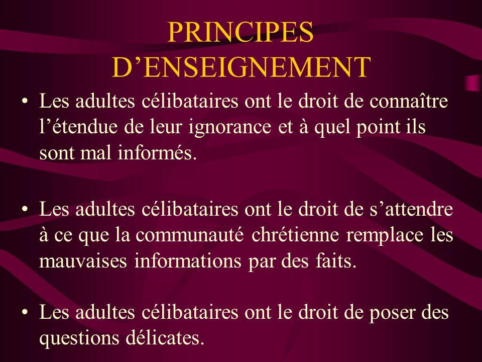 PRINCIPES DENSEIGNEMENT Les adultes célibataires ont le droit de connaître létendue de leur ignorance et à quel point ils sont mal informés.