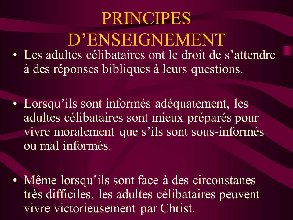 PRINCIPES DENSEIGNEMENT Les adultes célibataires ont le droit de sattendre à des réponses bibliques à leurs questions.
