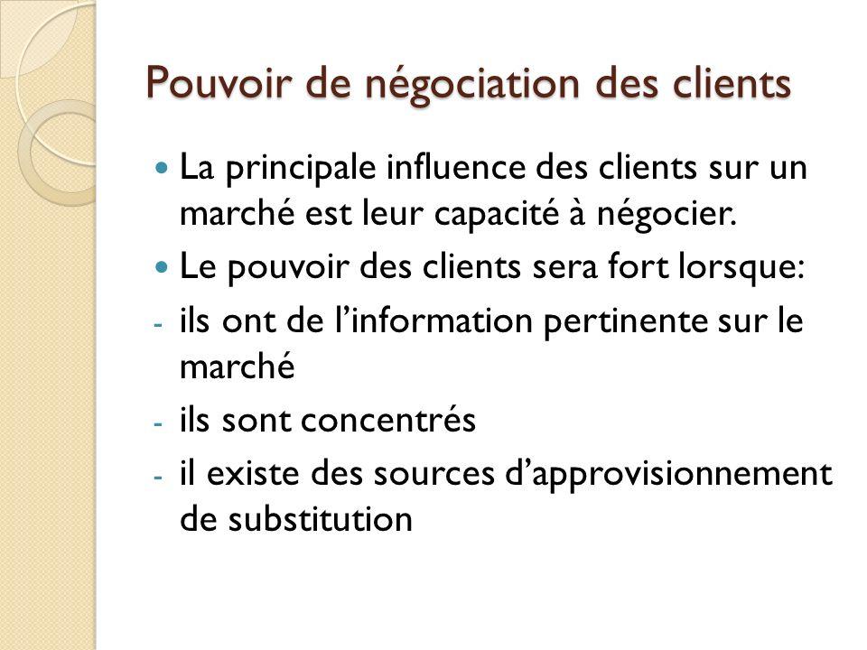Pouvoir de négociation des clients La principale influence des clients sur un marché est leur capacité à négocier. Le pouvoir des clients sera fort lo