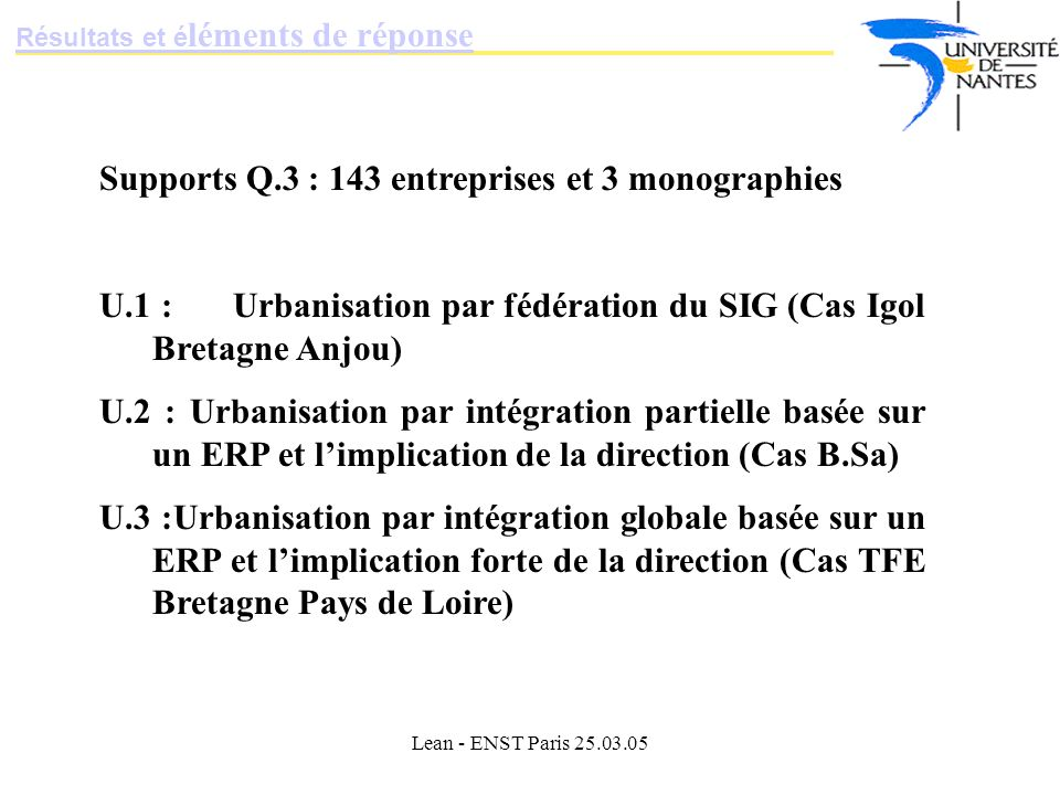 Lean - ENST Paris 25.03.05 Supports Q.3 : 143 entreprises et 3 monographies U.1 : Urbanisation par fédération du SIG (Cas Igol Bretagne Anjou) U.2 : Urbanisation par intégration partielle basée sur un ERP et limplication de la direction (Cas B.Sa) U.3 :Urbanisation par intégration globale basée sur un ERP et limplication forte de la direction (Cas TFE Bretagne Pays de Loire) Résultats et é léments de réponse