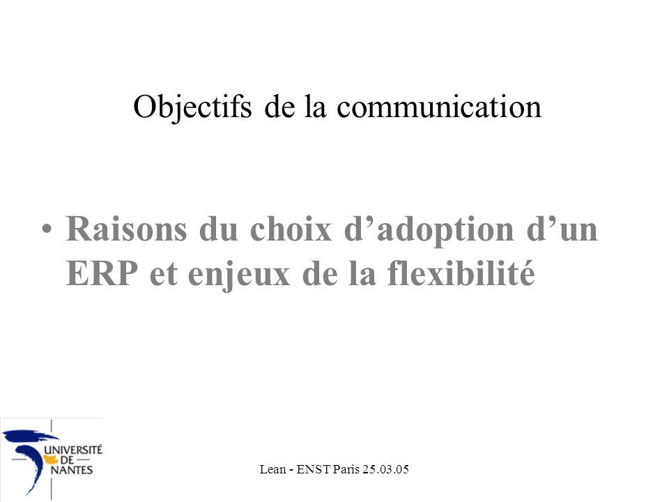 Lean - ENST Paris 25.03.05 Objectifs de la communication Raisons du choix dadoption dun ERP et enjeux de la flexibilité