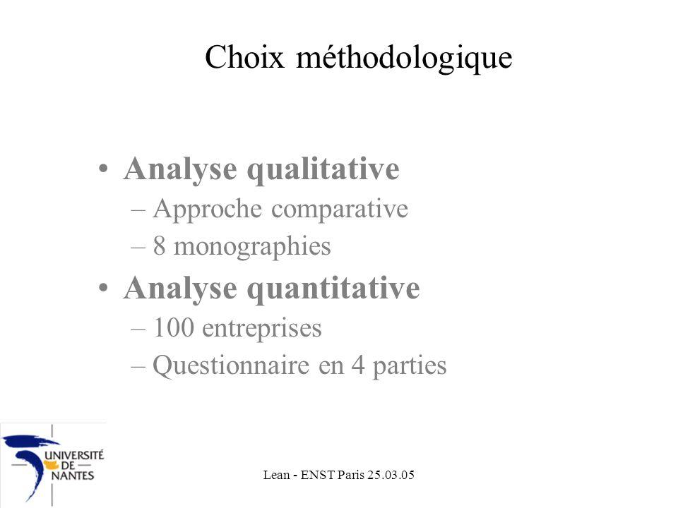 Lean - ENST Paris 25.03.05 Choix méthodologique Analyse qualitative –Approche comparative –8 monographies Analyse quantitative –100 entreprises –Questionnaire en 4 parties