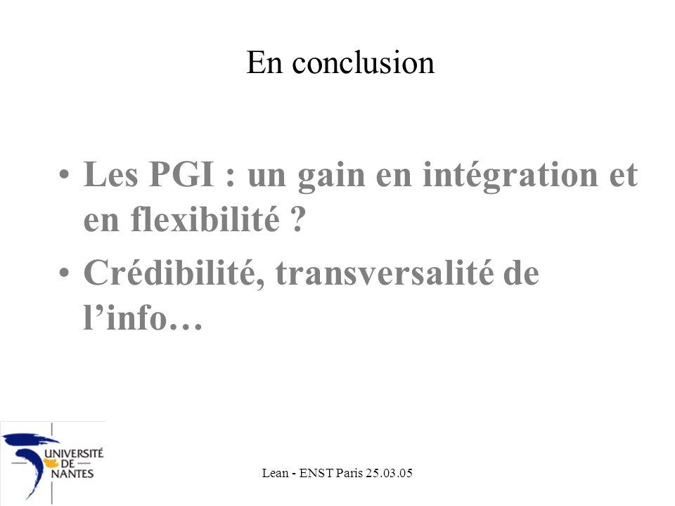 Lean - ENST Paris 25.03.05 En conclusion Les PGI : un gain en intégration et en flexibilité .