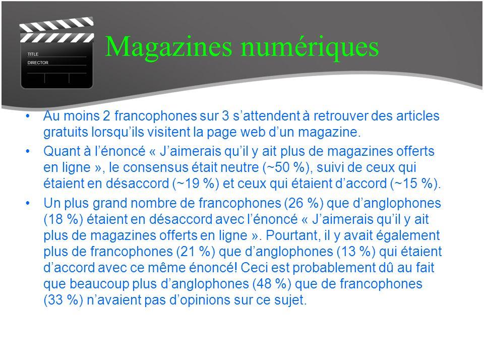Magazines numériques Au moins 2 francophones sur 3 sattendent à retrouver des articles gratuits lorsquils visitent la page web dun magazine.