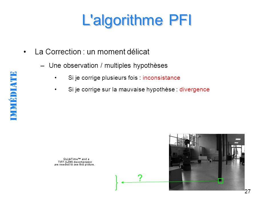 27 L'algorithme PFI La Correction : un moment délicat –Une observation / multiples hypothèses Si je corrige plusieurs fois : inconsistance Si je corri