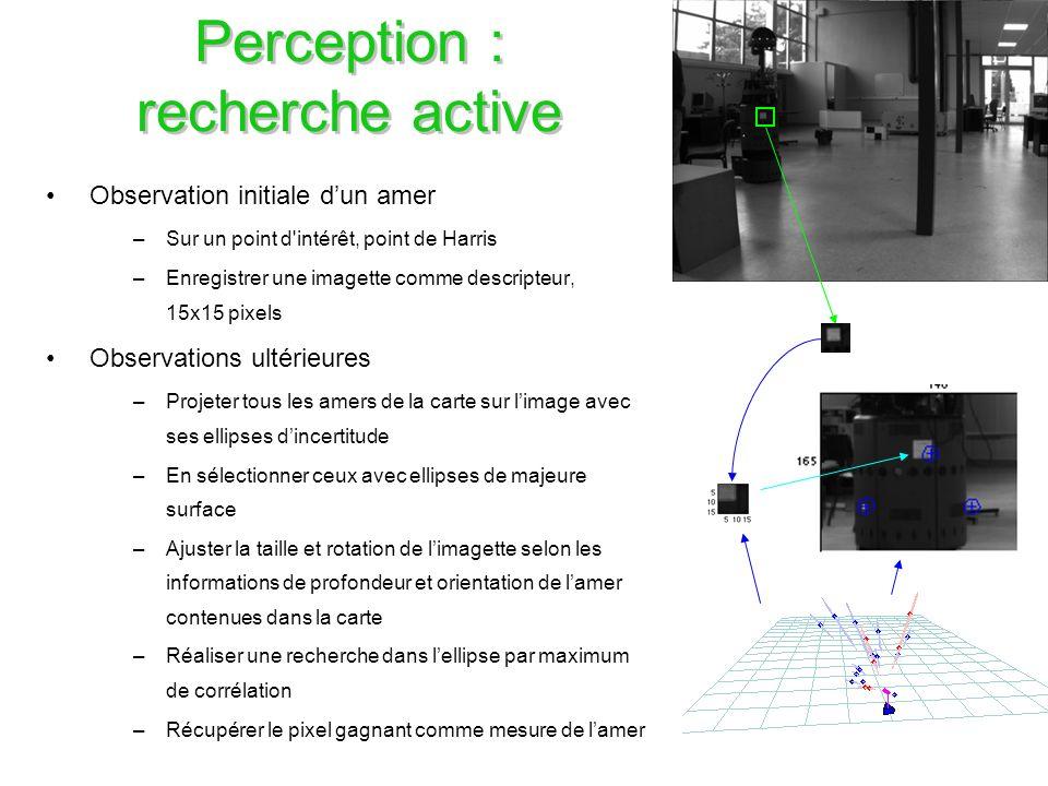 29 Perception : recherche active Observation initiale dun amer –Sur un point d'intérêt, point de Harris –Enregistrer une imagette comme descripteur, 1