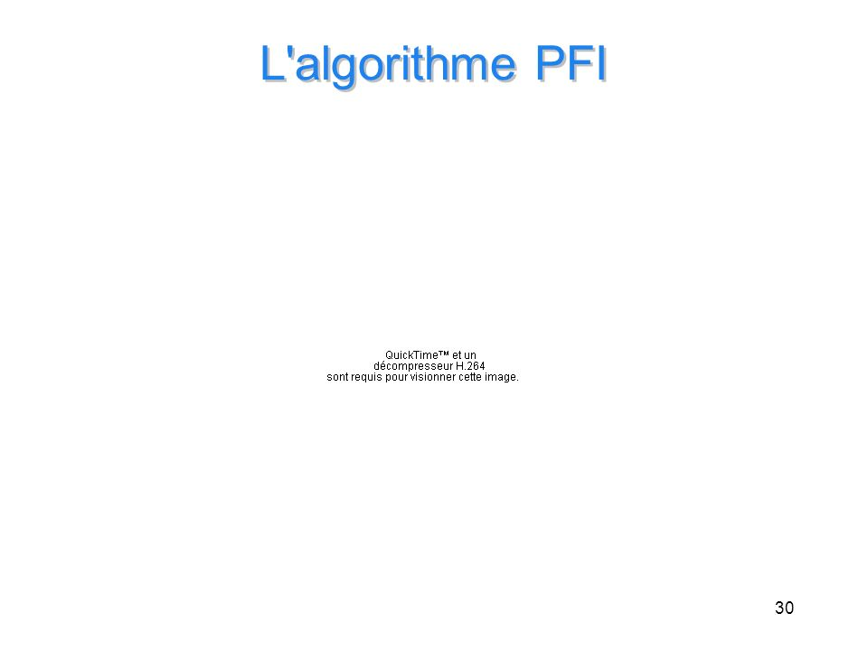 30 L'algorithme PFI