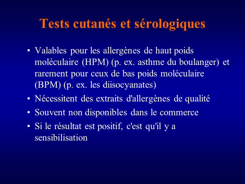 Tests cutanés et sérologiques Valables pour les allergènes de haut poids moléculaire (HPM) (p.