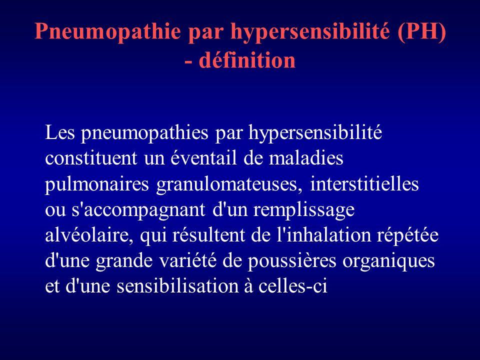 Pneumopathie par hypersensibilité (PH) - définition Les pneumopathies par hypersensibilité constituent un éventail de maladies pulmonaires granulomateuses, interstitielles ou s accompagnant d un remplissage alvéolaire, qui résultent de l inhalation répétée d une grande variété de poussières organiques et d une sensibilisation à celles-ci