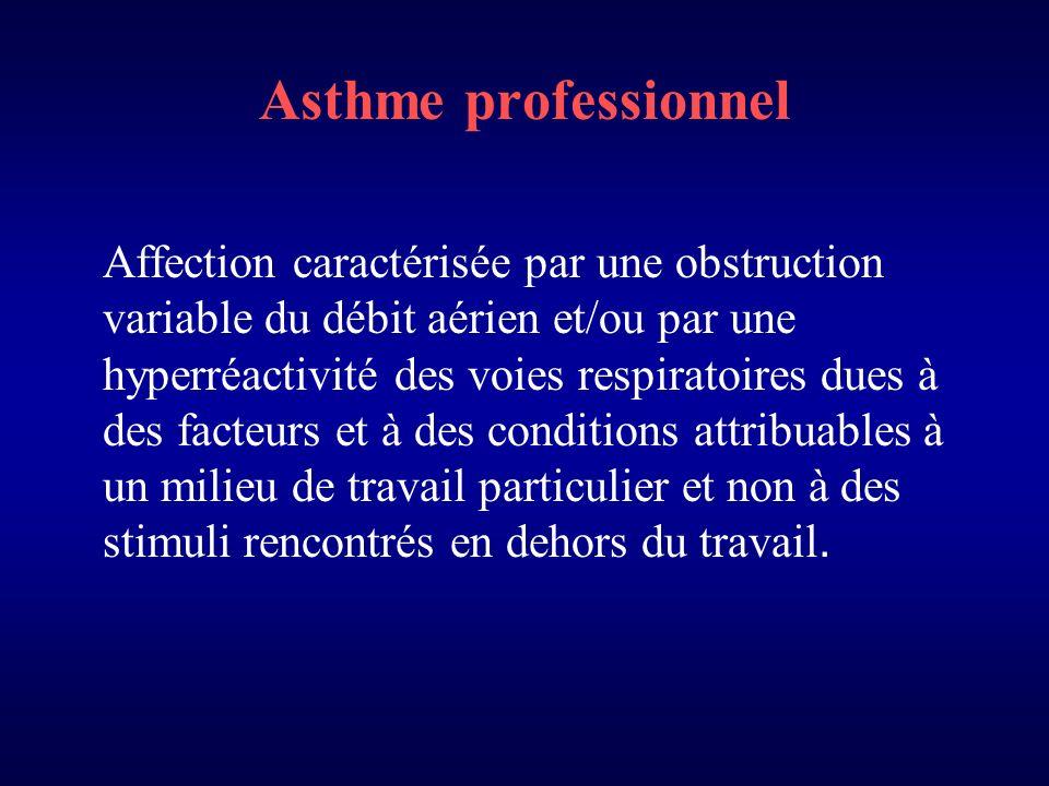 Asthme professionnel Affection caractérisée par une obstruction variable du débit aérien et/ou par une hyperréactivité des voies respiratoires dues à des facteurs et à des conditions attribuables à un milieu de travail particulier et non à des stimuli rencontrés en dehors du travail.
