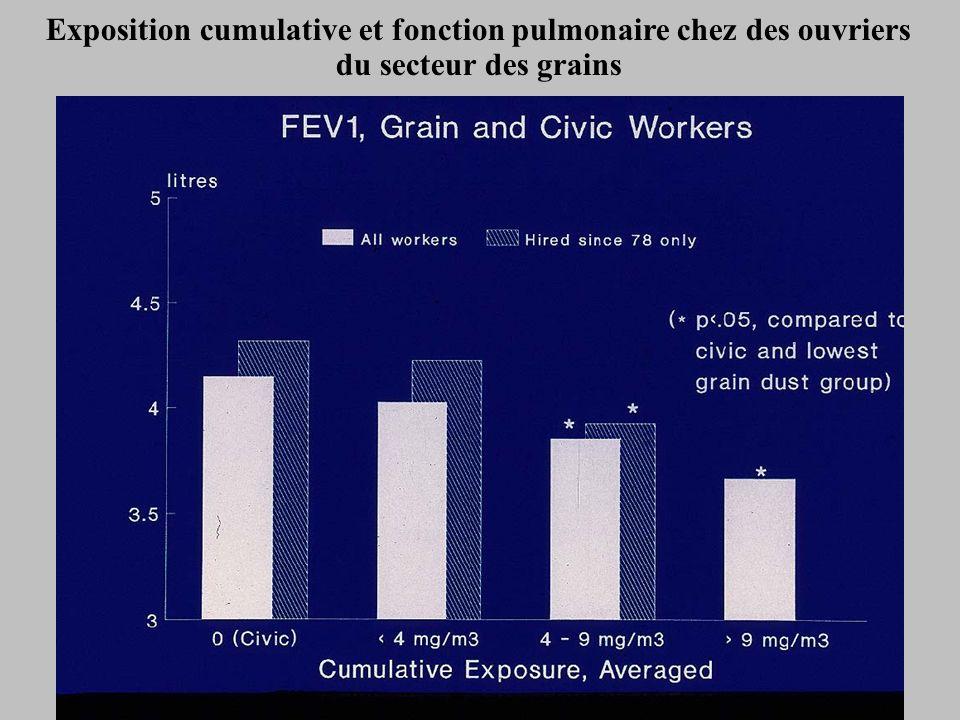 Exposition cumulative et fonction pulmonaire chez des ouvriers du secteur des grains