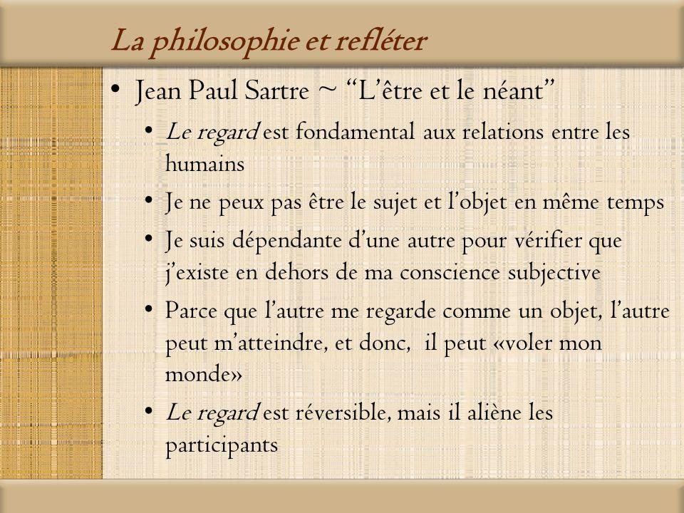 La philosophie et refléter Jacques Lacan ~ Le stade du miroir Lenfant se considère à la fois comme « lego » et « lalterego » Quand il se voit dans la glace, il est déjà devenu une image, et donc, une illusion Quand le bébé acquiert la langue et un nom, les relations entre les autres deviennent « imaginaires » aussi