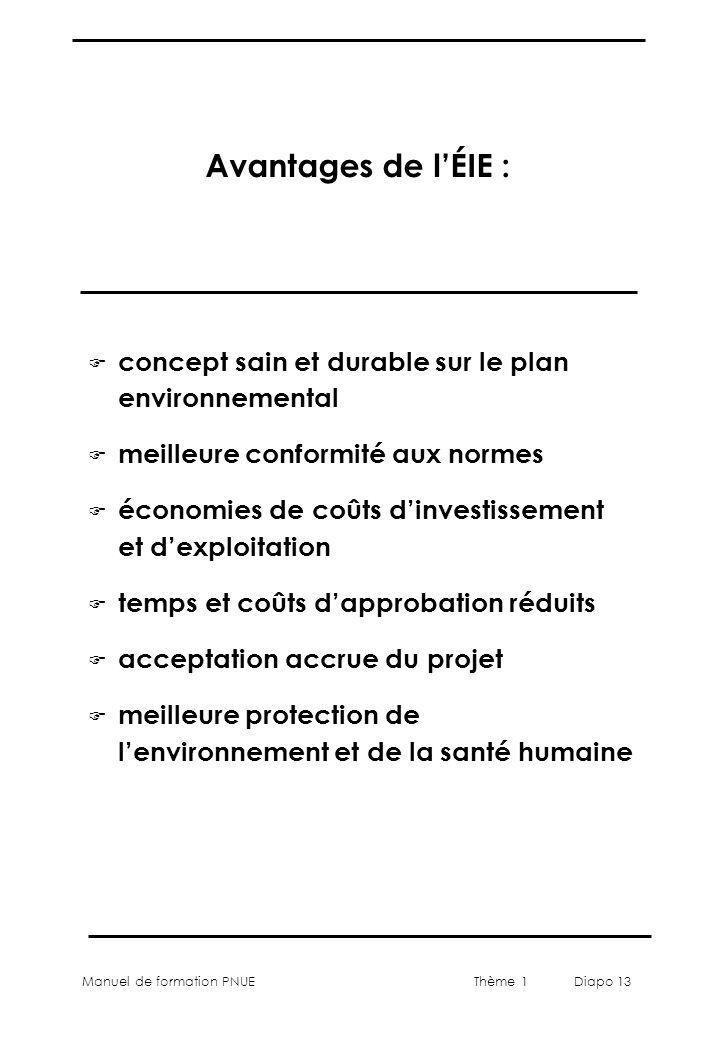 Manuel de formation PNUEThème 1 Diapo 13 Avantages de lÉIE : F concept sain et durable sur le plan environnemental F meilleure conformité aux normes F