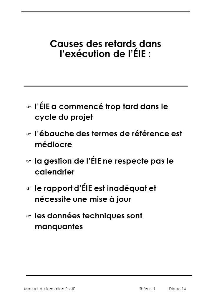 Manuel de formation PNUEThème 1 Diapo 14 Causes des retards dans lexécution de lÉIE : F lÉIE a commencé trop tard dans le cycle du projet F lébauche d