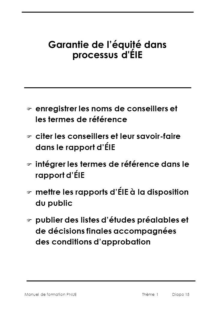Manuel de formation PNUEThème 1 Diapo 15 Garantie de léquité dans processus d'ÉIE F enregistrer les noms de conseillers et les termes de référence F c