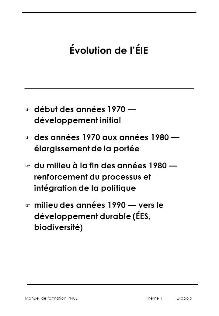 Manuel de formation PNUEThème 1 Diapo 5 Évolution de lÉIE F début des années 1970 développement initial F des années 1970 aux années 1980 élargissemen