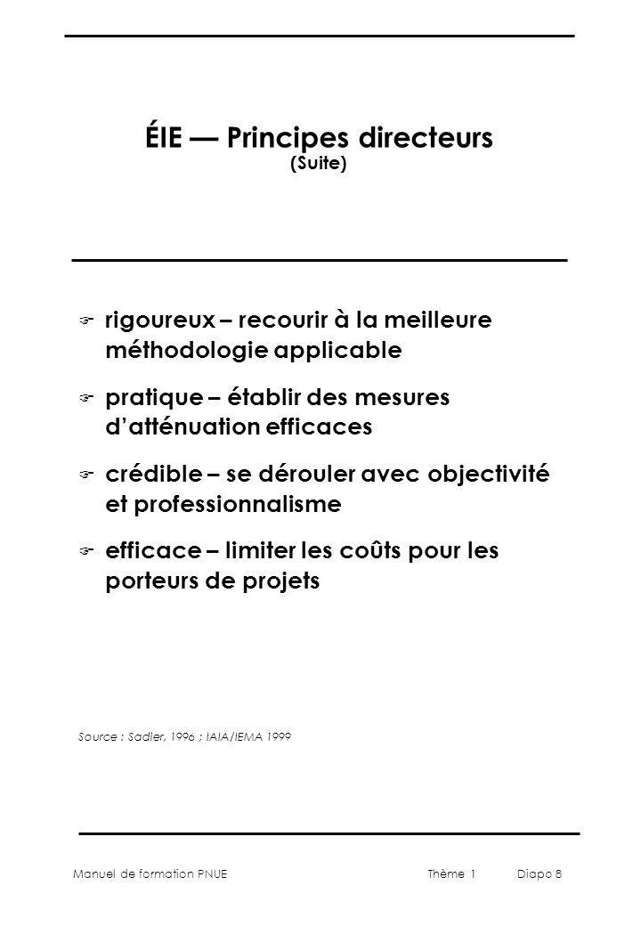 Manuel de formation PNUEThème 1 Diapo 8 ÉIE Principes directeurs (Suite) F rigoureux – recourir à la meilleure méthodologie applicable F pratique – ét
