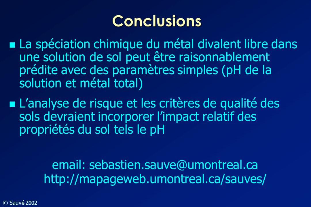 © Sauvé 2002 Conclusions La spéciation chimique du métal divalent libre dans une solution de sol peut être raisonnablement prédite avec des paramètres