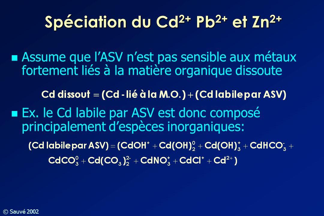 © Sauvé 2002 Spéciation du Cd 2+ Pb 2+ et Zn 2+ Assume que lASV nest pas sensible aux métaux fortement liés à la matière organique dissoute Ex. le Cd