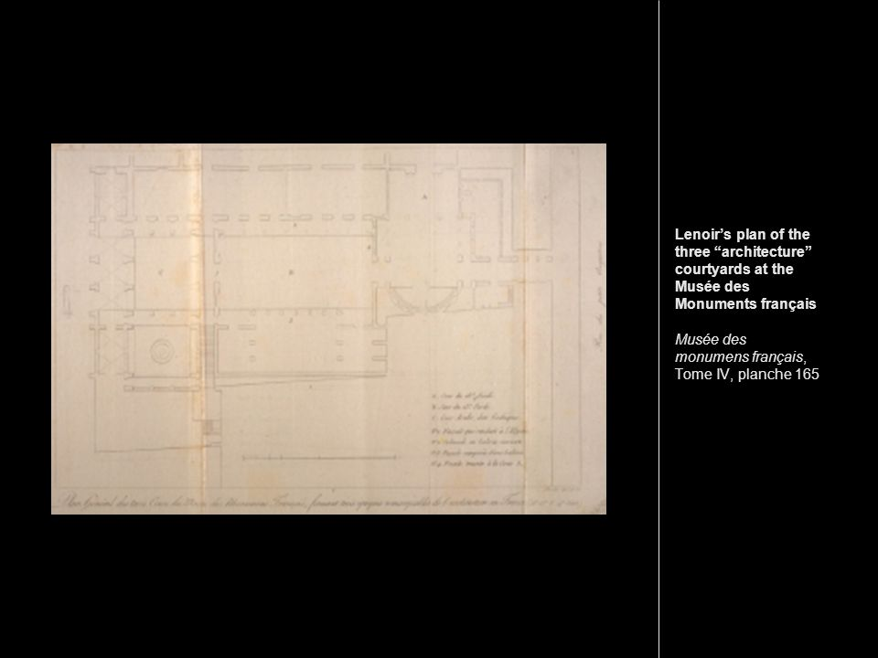 Lenoirs plan of the three architecture courtyards at the Musée des Monuments français Musée des monumens français, Tome IV, planche 165
