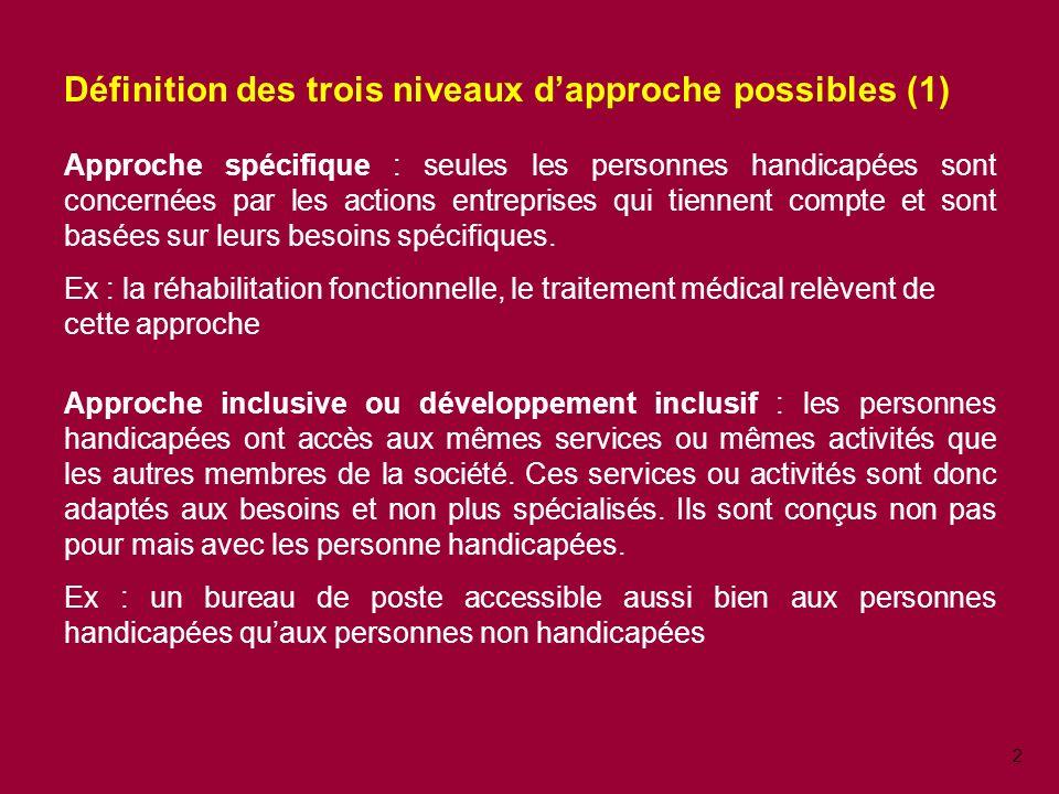 2 Définition des trois niveaux dapproche possibles (1) Approche spécifique : seules les personnes handicapées sont concernées par les actions entreprises qui tiennent compte et sont basées sur leurs besoins spécifiques.