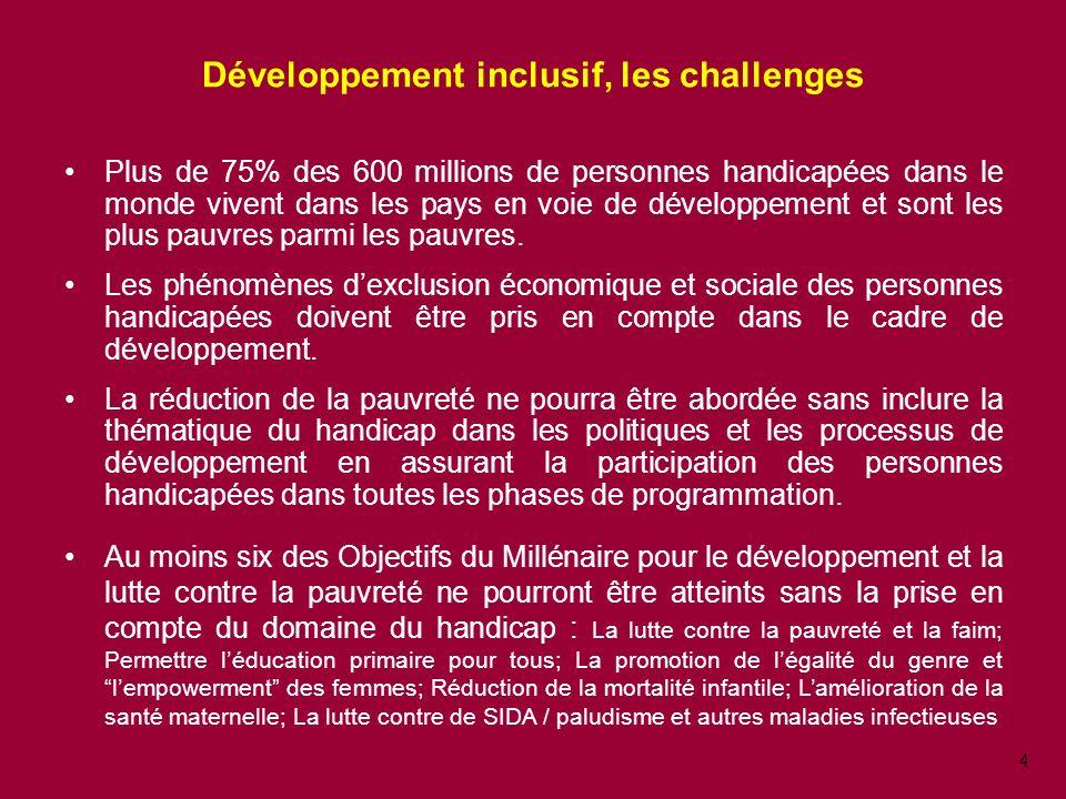 4 Développement inclusif, les challenges Plus de 75% des 600 millions de personnes handicapées dans le monde vivent dans les pays en voie de développement et sont les plus pauvres parmi les pauvres.
