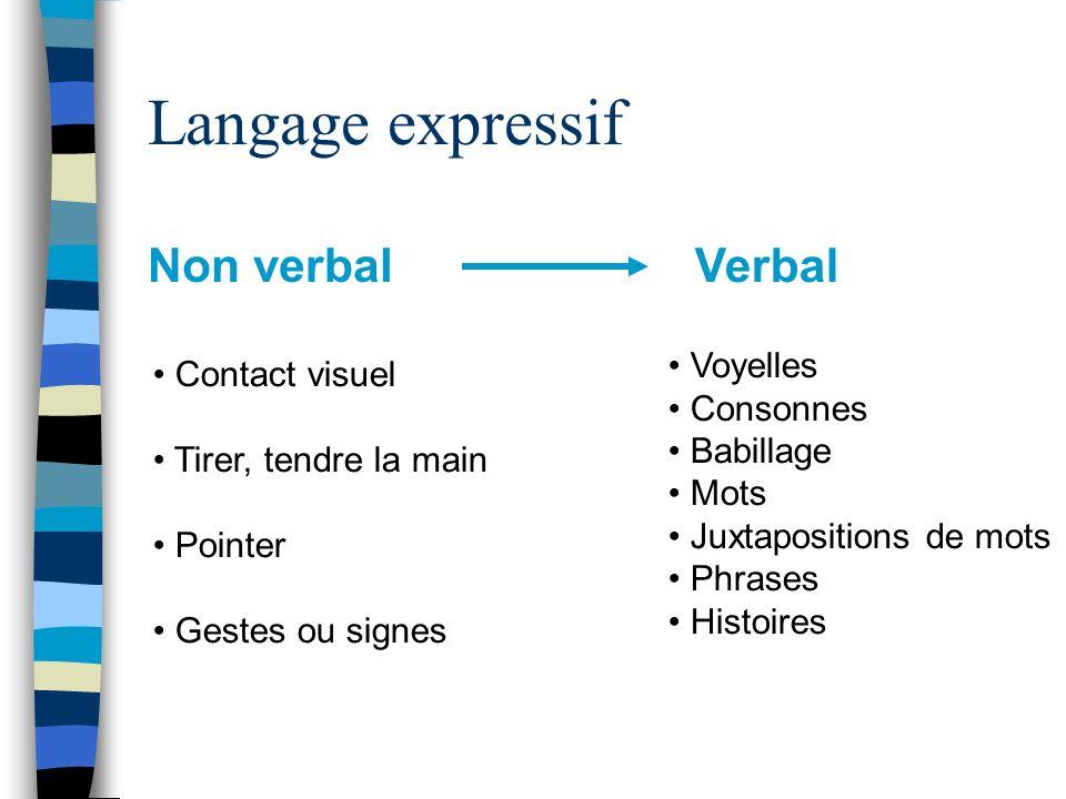 Langage expressif Non verbal Verbal Contact visuel Tirer, tendre la main Pointer Gestes ou signes Voyelles Consonnes Babillage Mots Juxtapositions de