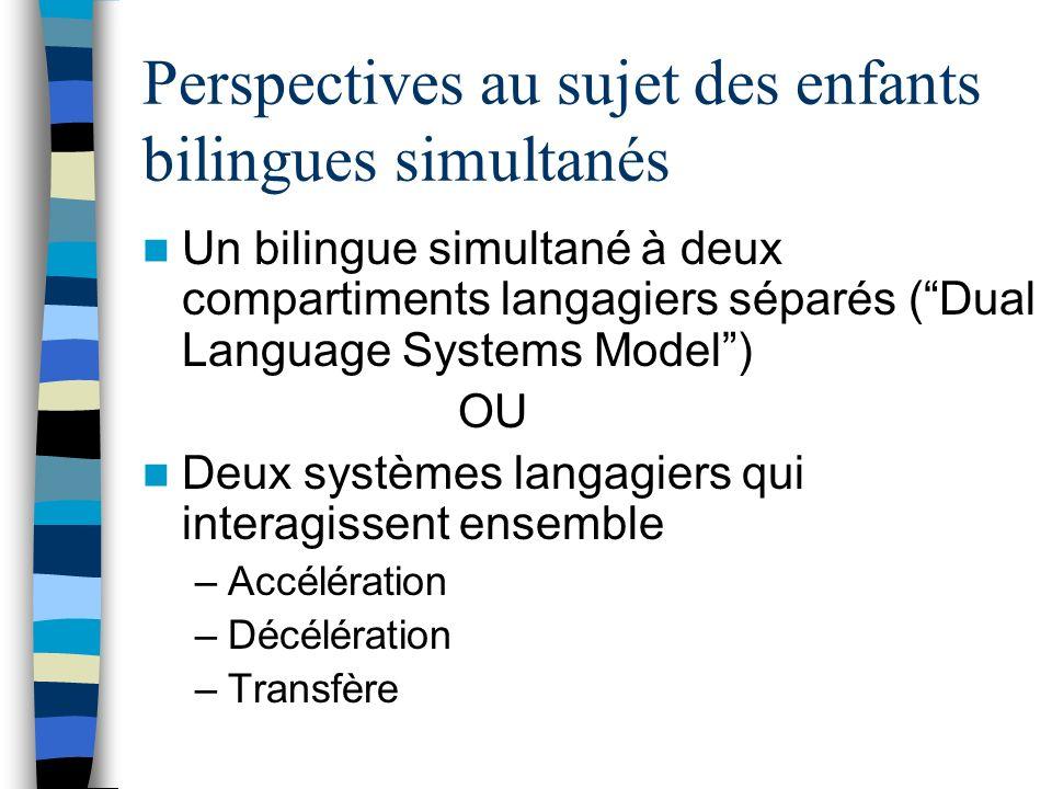 Perspectives au sujet des enfants bilingues simultanés Un bilingue simultané à deux compartiments langagiers séparés (Dual Language Systems Model) OU