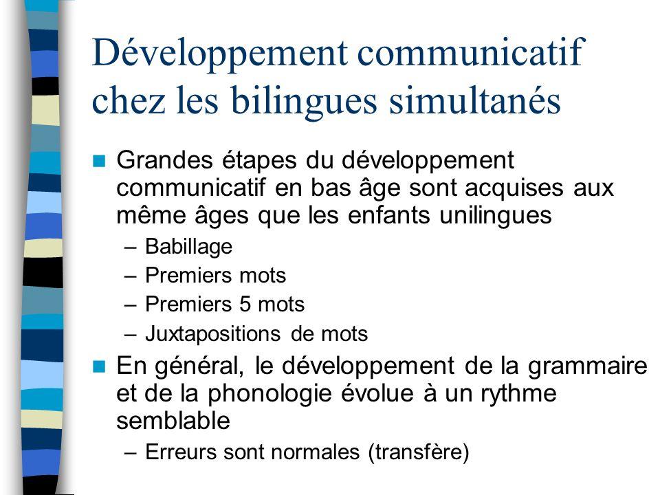 Développement communicatif chez les bilingues simultanés Grandes étapes du développement communicatif en bas âge sont acquises aux même âges que les e