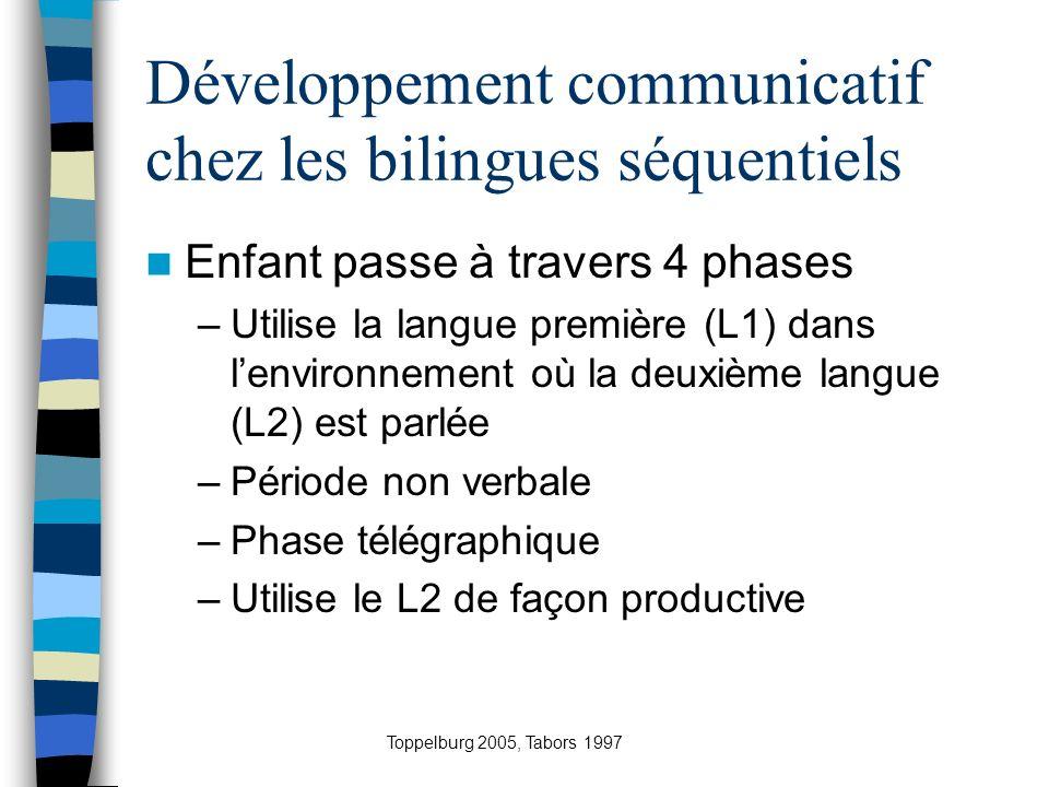 Développement communicatif chez les bilingues séquentiels Enfant passe à travers 4 phases –Utilise la langue première (L1) dans lenvironnement où la d
