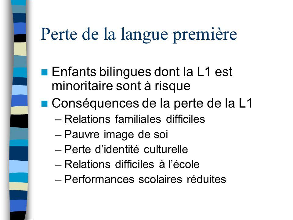 Perte de la langue première Enfants bilingues dont la L1 est minoritaire sont à risque Conséquences de la perte de la L1 –Relations familiales diffici
