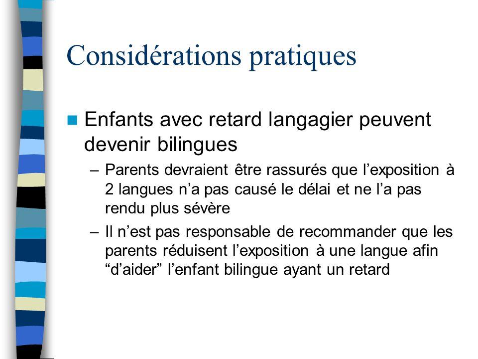 Considérations pratiques Enfants avec retard langagier peuvent devenir bilingues –Parents devraient être rassurés que lexposition à 2 langues na pas c