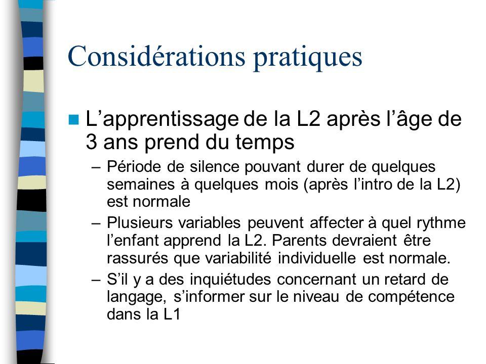 Considérations pratiques Lapprentissage de la L2 après lâge de 3 ans prend du temps –Période de silence pouvant durer de quelques semaines à quelques