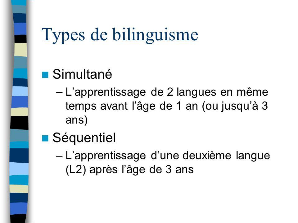 Types de bilinguisme Simultané –Lapprentissage de 2 langues en même temps avant lâge de 1 an (ou jusquà 3 ans) Séquentiel –Lapprentissage dune deuxièm