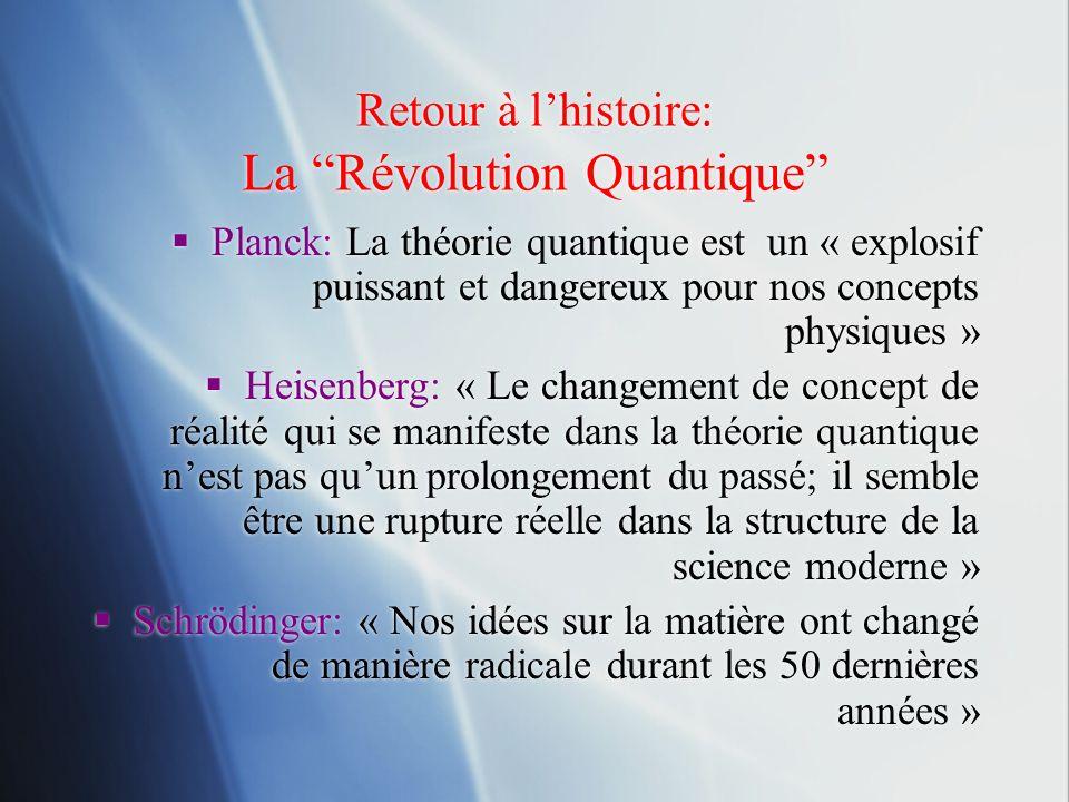 Retour à lhistoire: La Révolution Quantique Planck: La théorie quantique est un « explosif puissant et dangereux pour nos concepts physiques » Heisenb