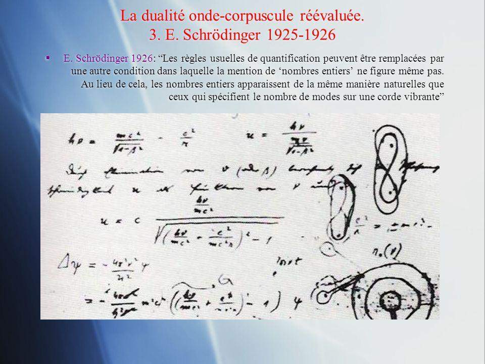 La dualité onde-corpuscule réévaluée. 3. E. Schrödinger 1925-1926 E. Schrödinger 1926: Les règles usuelles de quantification peuvent être remplacées p