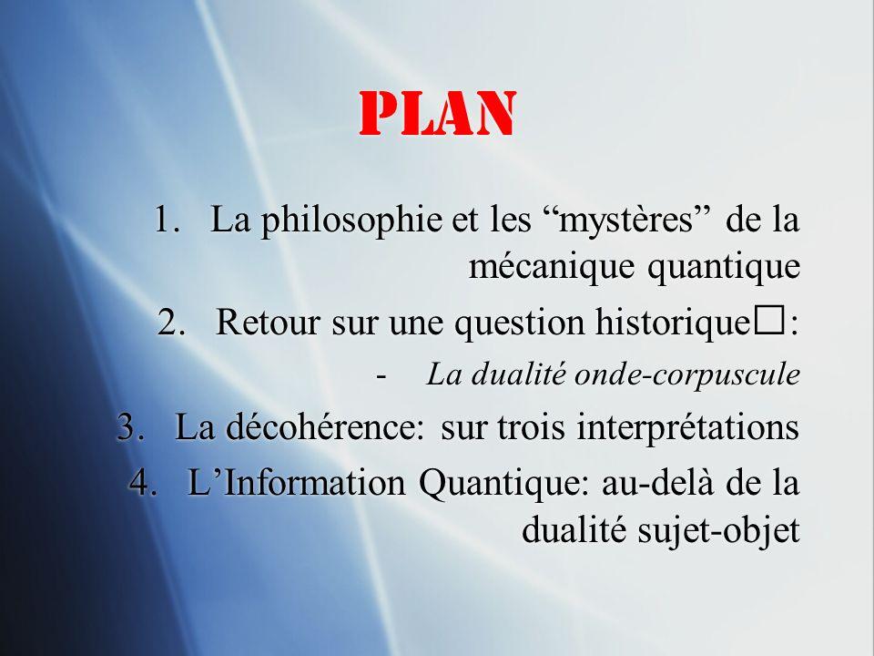 Plan 1.La philosophie et les mystères de la mécanique quantique 2.Retour sur une question historique: -La dualité onde-corpuscule 3.La décohérence: su