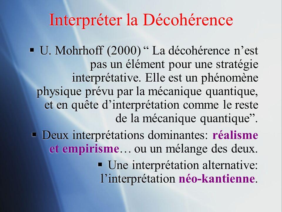 Interpréter la Décohérence U. Mohrhoff (2000) La décohérence nest pas un élément pour une stratégie interprétative. Elle est un phénomène physique pré