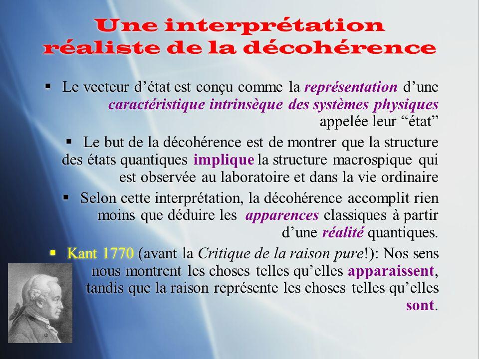 Une interprétation réaliste de la décohérence Le vecteur détat est conçu comme la représentation dune caractéristique intrinsèque des systèmes physiqu