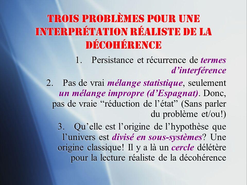 Trois problèmes Pour une interprétation réaliste de la Décohérence 1.Persistance et récurrence de termes dinterférence 2.Pas de vrai mélange statistiq