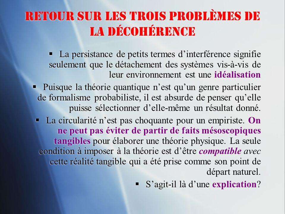 Retour sur les trois problèmes de la décohérence La persistance de petits termes dinterférence signifie seulement que le détachement des systèmes vis-