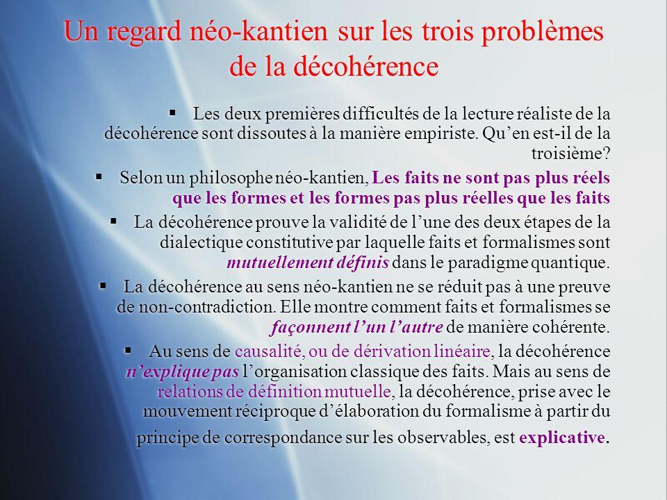Un regard néo-kantien sur les trois problèmes de la décohérence Les deux premières difficultés de la lecture réaliste de la décohérence sont dissoutes